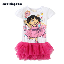 MudKingdom Girls Dress Kids Clothes Moana Cartoon Dora Dress Princess Summer Dress Children Clothing Bosudhsou Vestidos