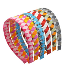 6pcs/lot Ribbon Covered Hair Band 2cm Wide 37cm Circle Size Fashion Headband for Kids Girls Headwear DIY Hair Accessories(China)