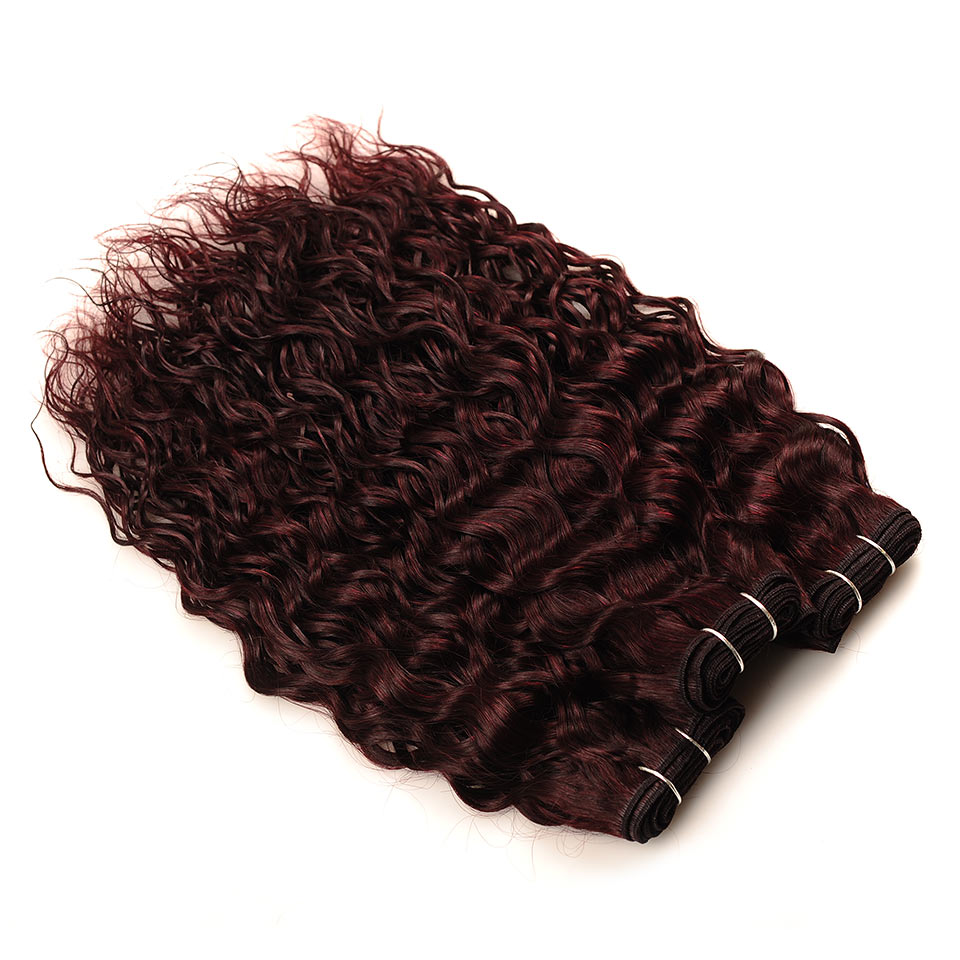 Pinshair Burgundy Brazilian Hair Weave Bundles With Closure Red 4 Pcs Water Wave Human Hair 3 Bundles With Lace Closure Non Remy (160)
