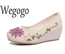 Wegogo Vintage Embroidered Women Shoes Ethnic Natural Linen Shoes Slope Heel Retro Cloth Canvas Soft-soled Dance Single Shoes