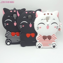 Cute 3D Cartoon Kawaii Bow Tie Cat Soft Silicone Case for Lenovo A536 Lucky Cat Rubber Cover for Lenovo A 536 phone cases(China)