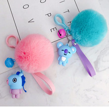 KPOP BTS BT21 Cute Fur Ball Plush Keychain Tata Chimmy Handbag Charm Pendant Key Holder Chain Accessory For Kid YLM9634(China)
