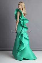 New Fashion One Shoulder Tiered Ruffled Floor Length Gown Green Mermaid Long Evening Dresses 2014 Vestido