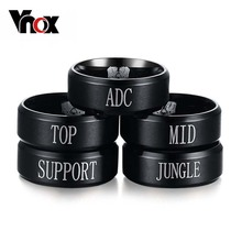 Vnox Jewelry Stainless Steel Game LOL Rings,Top Jungle Adc Mid Support Engraved,Black
