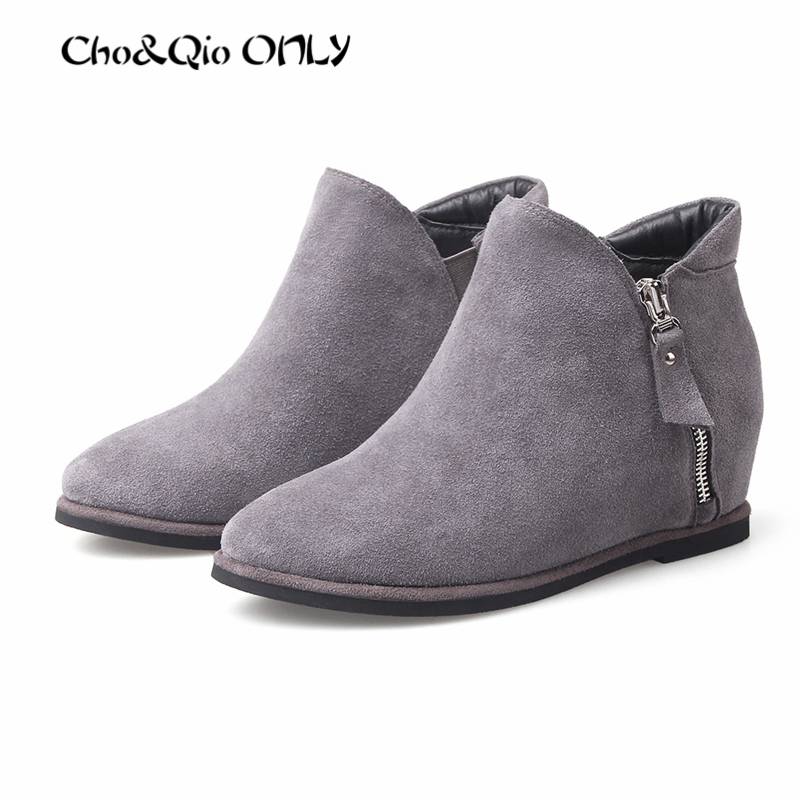 2016 Winter Classic Retro Pointed Toe Nubuck Genuine Leather Height Increasing 4cm Woman Shoes Ankle Chelsea Boots Big Size33-43<br><br>Aliexpress