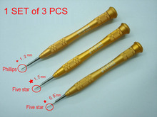 A Set of 3 pcs Iphone Ipad Repair Tools Japan RHINO Brand IPG4 Golden Screwdriver 0.8mm Torx and 1.2mm Torx & Phillips
