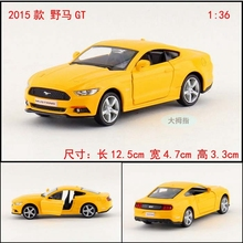 Candice guo 1:36 alloy car model 2015 GT ford mustang wild horse sport racing vehicle motor birthday gift christmas present 1pc(China)