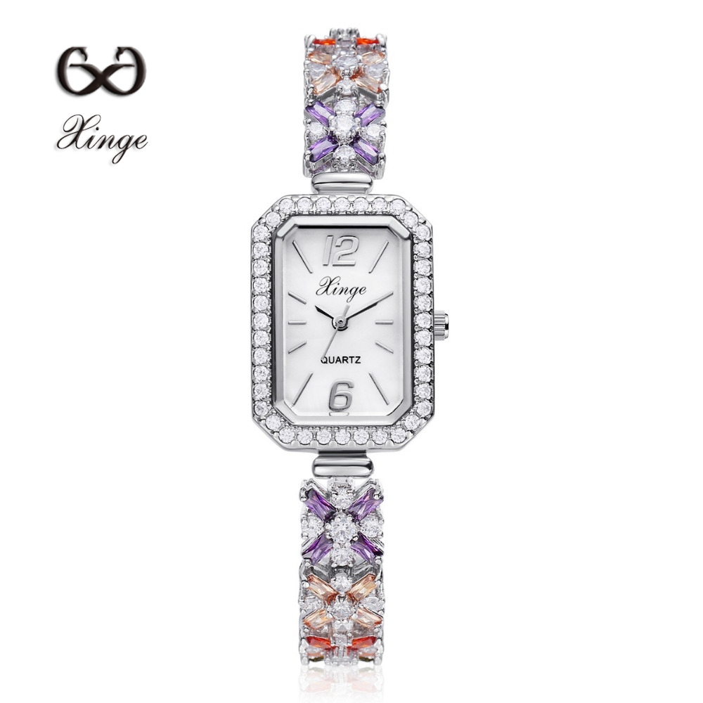 Xinge Brand Zircon Copper Gold New Women Luxury Fashion Wristwatch Gold Rhinestone Quartz Ladies Watch Casual Dress Watches<br>