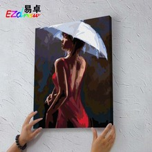 Fashion art character girl drawing picture paint on canvas diy digital oil painting by numbers home decoration craft gifts