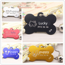 Anti-lost Free Personalized engraving text dog tag engraved dog cat tag dog identification customized name address telephone