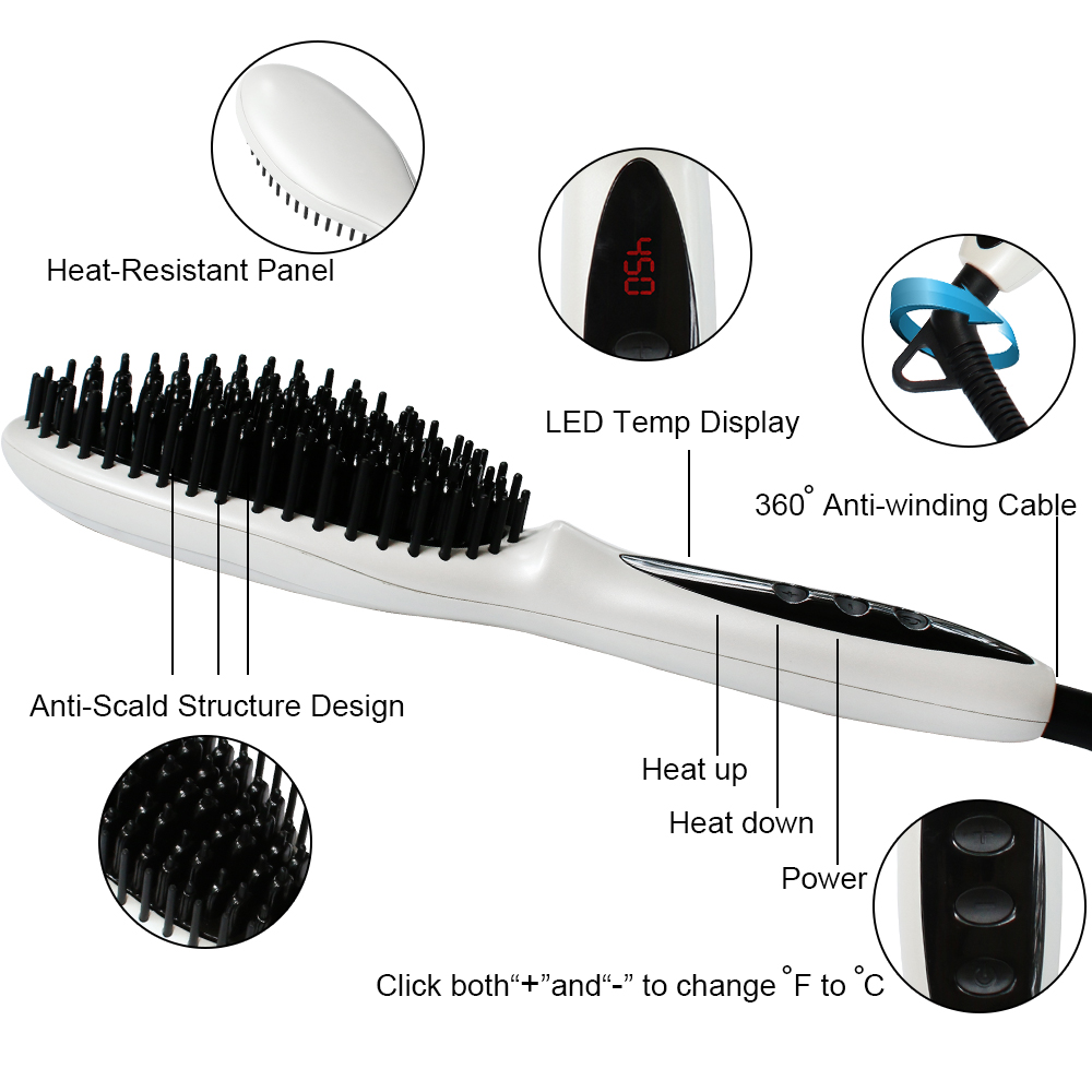 Electric Quick Heating Smoothing Brush Styling Tool For Any Hair Types Ergonomic Ionic Hair Straightener Brush Hair Combs<br>
