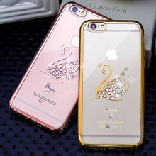 Swarovski Crystal Diamond Case For iPhone 6s 6 Plus 6Plus 6s 7 Plus iPhone 7 Gold Plating Bling Rhinestone Peacock Phone Cases(China)