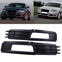 2 Pcs Brand New Car Front Bumper Fog Lights Hood Grill Grille Cover For Audi A6(C6) Sedan/Avant 2008-2011 facelift Car-Styling