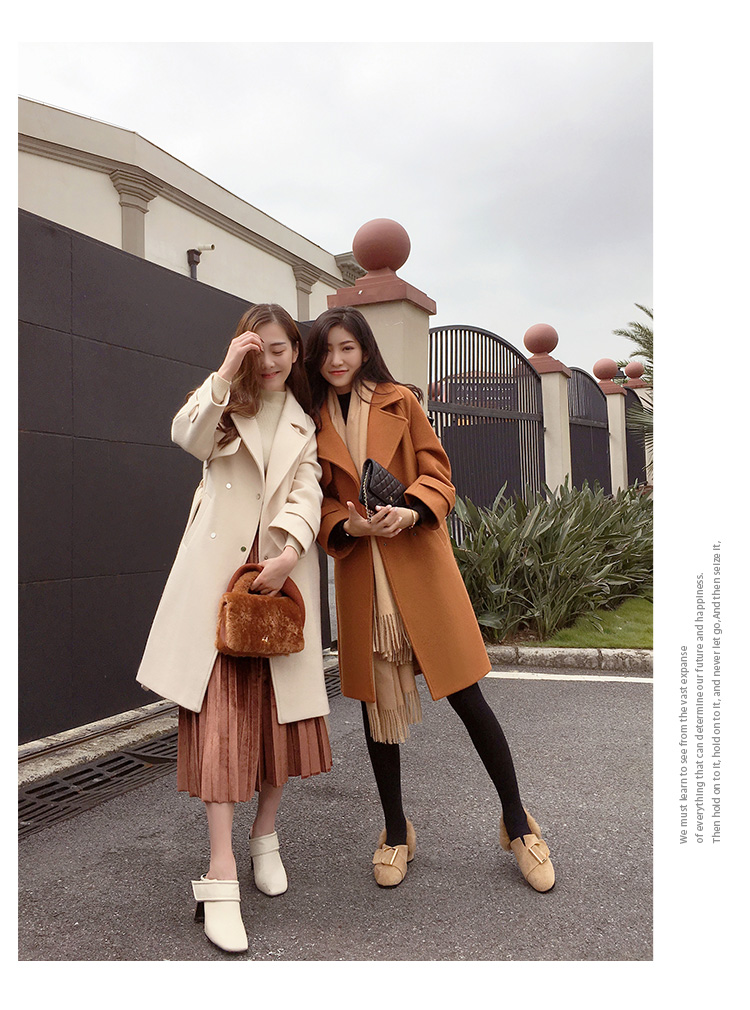 Mishow 19 autumn and winter woolen coat female Mid-Long New Korean temperament women's popular woolen coat MX17D9636 28