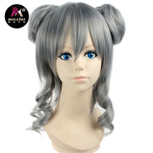 Miss U Hair Synthetic Girl's V Short Curly Silvery Grey Color Hair Cosplay Costume Wig with Bun Halloween Party Use(China)