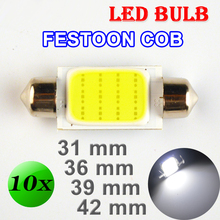 Flytop 10 PCS 31mm 36mm 39mm 42mm C5W DC12V FESTOON COB 12 Chips White Color Car LED Bulbs Auto Lamp Interior Dome Light(China)