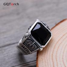 100% Real Pure 925 Sterling Silver Jewelry Silver Rings For Men Retro Hexagram Crown Engraved Square Natural Stone Black Onyx