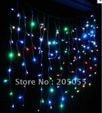 180 LED 6M curtain lights Led icicles lights lamps with tail plug Icicle Lights Xmas Wedding Party Decorations-MULTI-Color