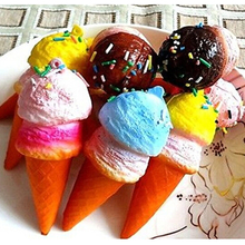 JETTING wholesale 10cm New Cute Soft Jumbo Ice Cream Cone Squishy Cell phone Straps Bread Scented Key Chains Charms(China)