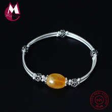 S925 Sterling Silver Bracelet For Women Natural Stone Round Amber Beads Bracelet On The Leg Crystal Party Fine Jewelry YB28