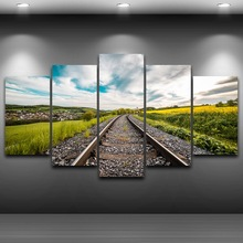 Pictures Wall Art Home Decor Frame Canvas 5 Panel Railway Orbital Field Painting Poster For Living Room Modern HD Printed PENGDA