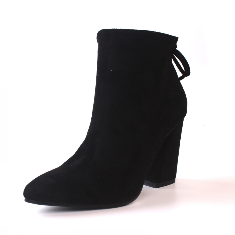 Plus Size Nubuck Kid Suede Fashion Women Boots Pointed Toe Square Heels Autumn Ankle Boots Ladies Shoes Female CN-B0002<br>