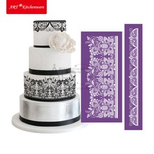 2pcs Peony Design Mesh Stencil Lace Cake Stencil Cake Decorating Tools Fondant Cake Mold Lace Mat Pastry Tools Bakeware MST-06