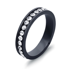 One Row Clear CZ Crystal Pave Black Gun Plated Stainless steel Engagement Rings for Women(China)