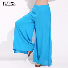 ZANZEA Women Fashion Wide Leg Pants Casual Loose Elastic High Waist Elegant Ladies Solid Trousers Plus Size 2017 Summer Brand