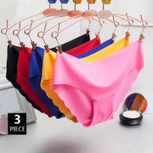 Buy 3pcs/lot Ice Silk Solid Seamless Women Panties Sexy Ruffle Low Waist Underwear Smooth Close-fitting Knickers Lingerie Breifs