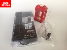 Single sale MOC Bricks DIY Telephone Box Red Booth with Led warm light 1X1 for City /Town Educational building blocks kids gifts(China)