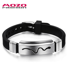 MOZO FASHION Trendy Mens Jewelry Black Silicone Rubber Hollow Stainless Steel Snake Design Cool Bracelets Adjustable TY966