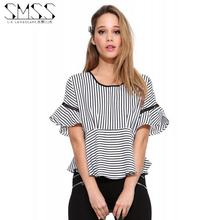 Buy New Fashion Striped Shirt 2017 Summer Ruffles Butterfly Sleeve Short Loose Tops S-3XL Plus Size Cute Clothes Women Blouses for $17.47 in AliExpress store