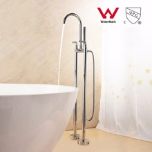 WELS AND CUPC Floor Stand Faucet Polished Chrome Brass Shower Faucet Set With Handheld Shower Mixer Tap Dual Handle(China)