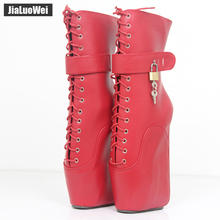 "Buy 2017 New 7""/18CM Ultra High Heel Strange Wedge Ballet Boots Women Fashion Sexy Fetish Cross-tied Ankle Boots Padlocks Locks"