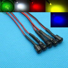50 x 3mm LED Pre-Wired  20CM 12V DC with Plastic Bezel Holders White Red Blue Green Yellow warm-White RGB Pre wired  Light Bulb