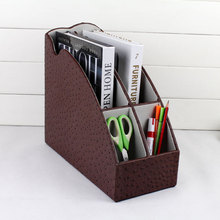 rack file stand organizer pen holder box4-slot wood leather desktop office file document stationery tray 266B