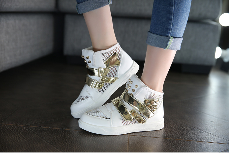 Kids Shoes Glowing Sneakers Baby Boys Girls Sport Shoes New Autumn tenis infantil Children Sneakers Black White with Gold Rivet 12