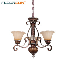 Floureon 3-Light Antique Pendant Light,Retro European-Style Pendant Lamp,20W~50W E27 Oil Paint Steel Construction Glass Shade(China)