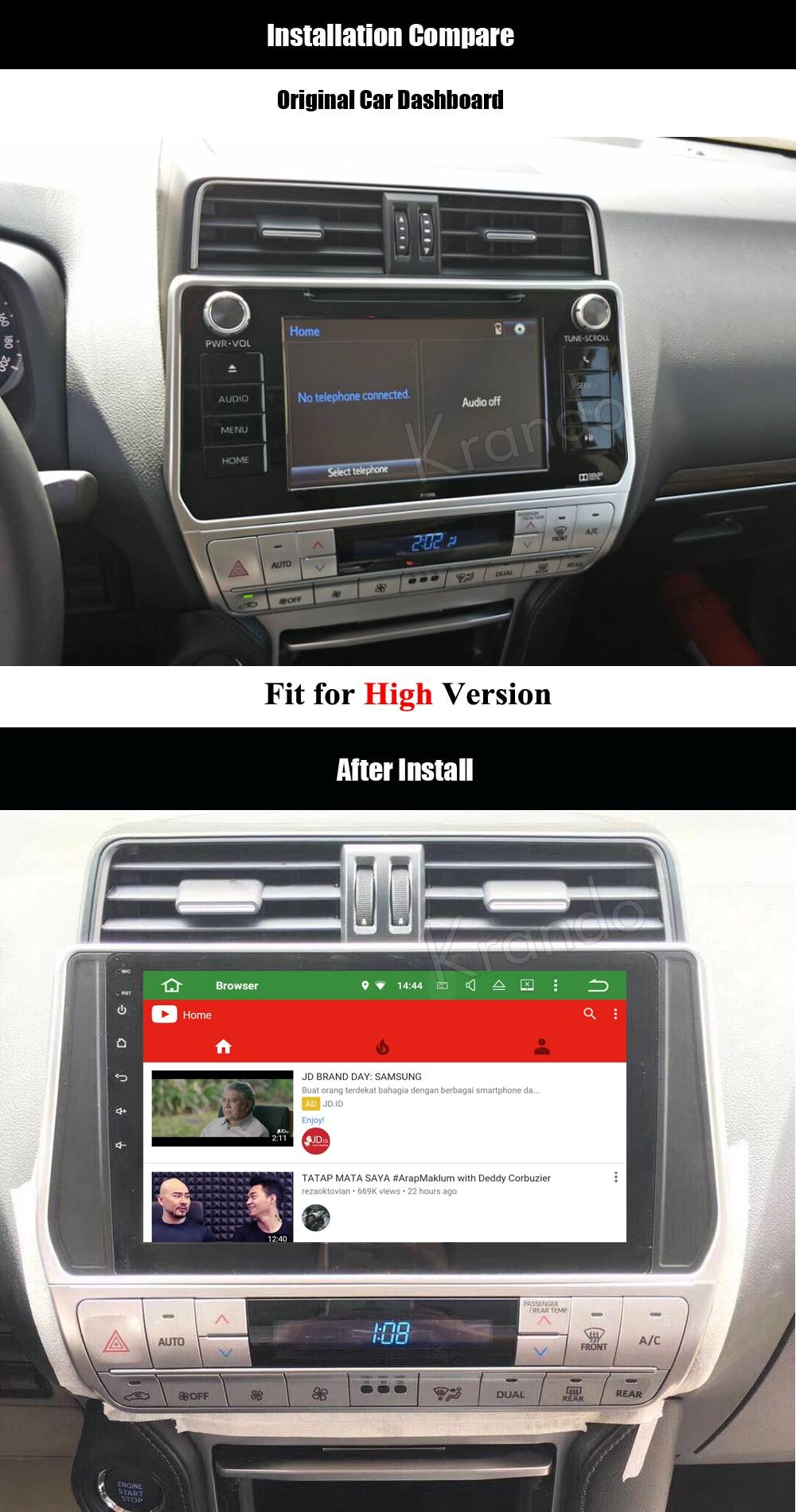 krando android car radio audio player for toyota prado 2018 multimedia navigation system (4)