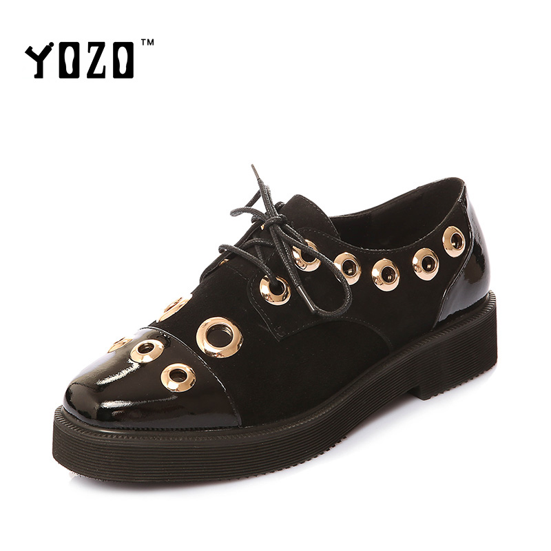 YOZO Women Shoes Fashion Genuine Leather Rivets Brogue Shoes Women Bullock Shoes Women Oxfords Brand Shoes Chaussures Femme 2017<br><br>Aliexpress