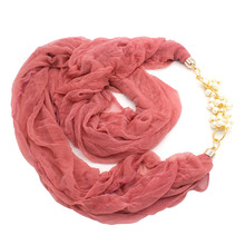 Handmade Polyester Rayon Infinity Jewelry Scarves Women's Wrap Scarves Necklace Pearl Accessories