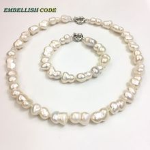 selling well Baroque Irregular style statement necklace bracelet bangle set Peanut shape real freshwater pearls make knots white