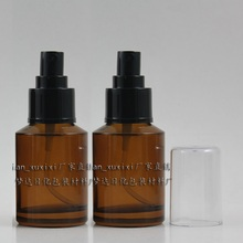 20pcs 60ml amber Glass travel refillable perfume bottle with black plastic atomizer , empty 2oz glass brown perfume container