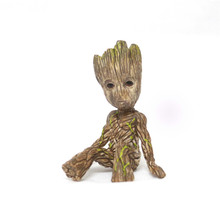 Free Shipping 6cm Mini Sitting Posture Groot PVC Action Figure Toy Tree Man Desk Decoration Resin Model Toy Best Gift for Boy