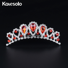 Buy Fashion Red Crystal Jewelry Silver Color Bridal Tiara Crown Wedding Hair Accessories Gorgeous Bride Princess Headwear for $2.89 in AliExpress store