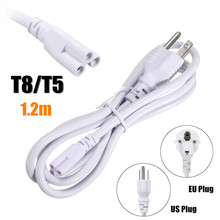 1.2M US/EU Plug 3 Prong AC Power Cord Cable For T8/T5 Integrated LED Tube Light 3pin Cable White High Quality