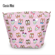 New pink blue Embroidered Shoepattern canvas Insert Lining Inner Pocket for Classic Mini Obag O Bag Women's Should Bags(China)