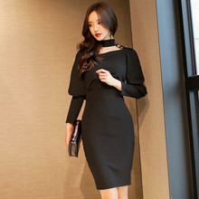 Buy Sexy Women Black Bodycon Club Bandage Dress Ladies Hollow Halter Evening Party Dresses Long Sleeve Sheath Club Wear Dress