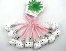 100 pcs/lot Popular Cute Hello Kitty Bell Mobile Cell Phone Charm Strap Party Gift